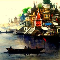 varanasi ghat - 17, 16 x 12 inch, girish chandra vidyaratna,landscape paintings,paintings for bedroom,horizontal,paper,watercolor,16x12inch,GAL0363305