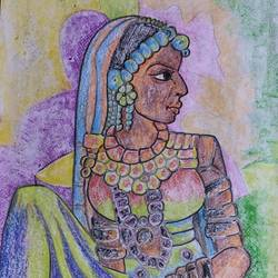 traditional woman, 8 x 12 inch, manoj kumar mishra,8x12inch,paper,paintings,figurative paintings,portrait paintings,paintings for living room,paintings for bedroom,paintings for hospital,pastel color,paper,GAL02111933050