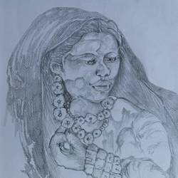 old village woman, 8 x 12 inch, manoj kumar mishra,8x12inch,paper,paintings,figurative paintings,portrait paintings,paintings for living room,paintings for office,paintings for school,graphite pencil,paper,GAL02111933051