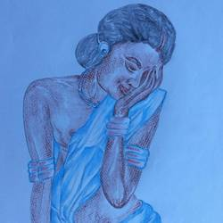 sensual woman, 8 x 12 inch, manoj kumar mishra,8x12inch,paper,paintings,figurative paintings,portrait paintings,paintings for bedroom,paintings for bathroom,paintings for hotel,pencil color,paper,GAL02111933052