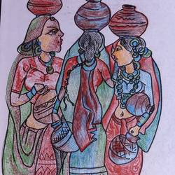 traditional women, 8 x 12 inch, manoj kumar mishra,8x12inch,paper,paintings,figurative paintings,portrait paintings,paintings for dining room,paintings for living room,paintings for office,paintings for hotel,paintings for kitchen,paintings for hospital,pencil color,paper,GAL02111933054