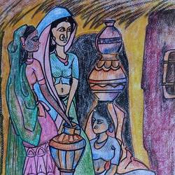 traditional ladies of a family, 8 x 12 inch, manoj kumar mishra,8x12inch,paper,paintings,figurative paintings,portrait paintings,paintings for dining room,paintings for living room,paintings for hotel,paintings for kitchen,paintings for hospital,pencil color,paper,GAL02111933058