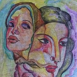 faces, 8 x 12 inch, manoj kumar mishra,8x12inch,paper,paintings,figurative paintings,portrait paintings,paintings for living room,paintings for bedroom,paintings for hotel,pencil color,paper,GAL02111933059