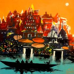 varanasi ghat - 18, 10 x 9 inch, girish chandra vidyaratna,abstract paintings,paintings for living room,paintings,paper,acrylic color,10x9inch,GAL0363306