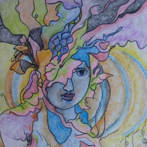 thoughts of a lady, 8 x 12 inch, manoj kumar mishra,8x12inch,paper,paintings,figurative paintings,portrait paintings,expressionism paintings,paintings for dining room,paintings for living room,paintings for hotel,paintings for kitchen,paintings for school,pastel color,paper,GAL02111933061