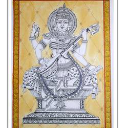 goddess saraswati , 8 x 11 inch, vishala prasad,8x11inch,drawing paper,paintings,religious paintings,paintings for living room,paintings for office,paintings for hotel,ink color,watercolor,GAL02123233065