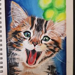 cute kitten, 68 x 92 inch, shraddha tibhe,68x92inch,drawing paper,wildlife paintings,paintings for dining room,paintings for living room,paintings for kids room,paintings for dining room,paintings for living room,paintings for kids room,poster color,GAL02128433082