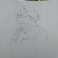 subhash chandra bose, 20 x 20 inch, pratibha bapat,20x20inch,thick paper,drawings,figurative drawings,graphite pencil,GAL02123933083