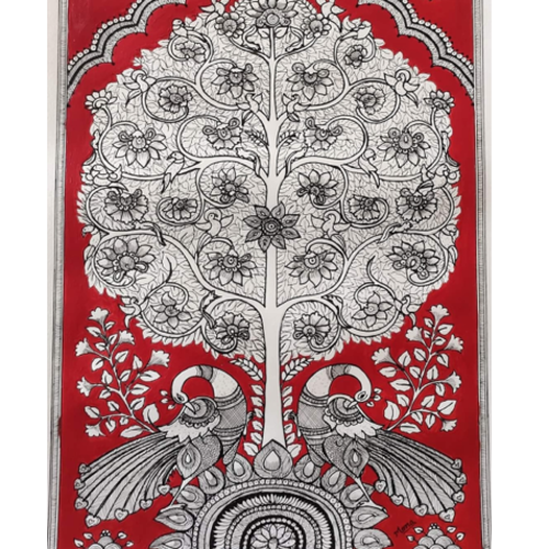the tree of life, 12 x 17 inch, monica maheshwari,12x17inch,drawing paper,paintings,madhubani paintings | madhubani art,paintings for living room,paintings for office,paintings for living room,paintings for office,acrylic color,pen color,GAL02128733084