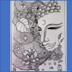 buddha, 12 x 17 inch, monica maheshwari,12x17inch,drawing paper,drawings,buddha drawings,paintings for living room,paintings for office,paintings for hotel,paintings for hospital,pen color,GAL02128733086