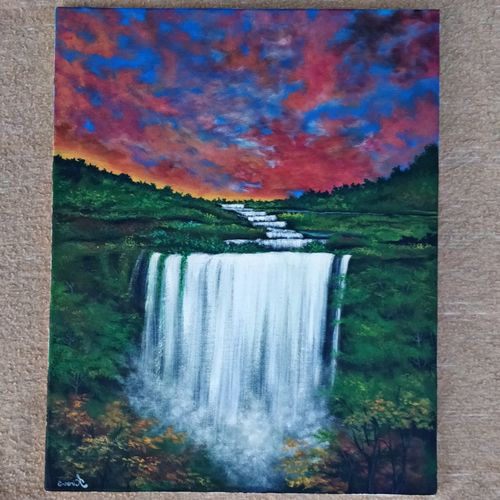 the evening waterfall, 16 x 20 inch, kiran sakat,16x20inch,canvas,paintings,nature paintings | scenery paintings,acrylic color,GAL02129933099
