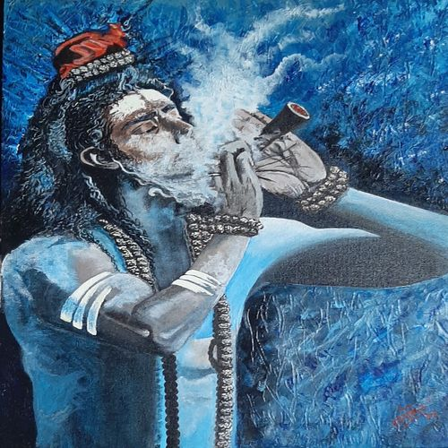 bom shankar , 18 x 20 inch, kaushik  chongdar,18x20inch,canvas,paintings,religious paintings,paintings for living room,paintings for hotel,acrylic color,GAL02130033101
