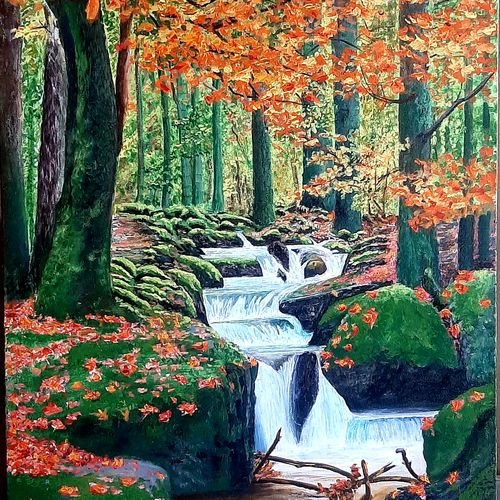 the jungle stream , 24 x 36 inch, kaushik chongdar,24x36inch,canvas,landscape paintings,realistic paintings,paintings for dining room,paintings for living room,paintings for bedroom,paintings for office,paintings for hotel,paintings for school,paintings for dining room,paintings for living room,paintings for bedroom,paintings for office,paintings for hotel,paintings for school,acrylic color,GAL02130033104