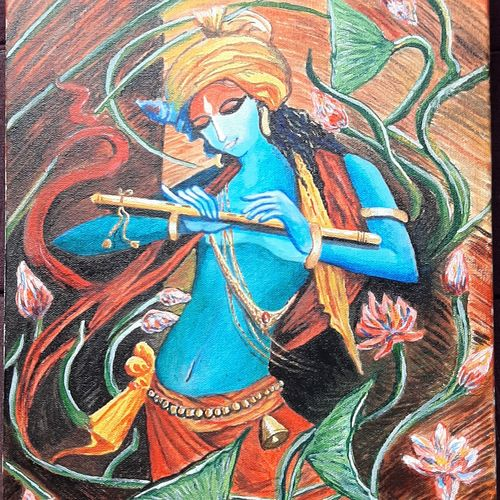 murlidhar , 12 x 18 inch, kaushik chongdar,12x18inch,canvas,figurative paintings,religious paintings,paintings for living room,paintings for office,paintings for hotel,paintings for living room,paintings for office,paintings for hotel,acrylic color,GAL02130033107