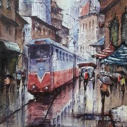 tram in kolkata-2, 8 x 11 inch, shubhashis mandal,8x11inch,handmade paper,paintings,cityscape paintings,paintings for dining room,paintings for living room,paintings for bedroom,paintings for office,paintings for hotel,watercolor,paper,GAL02057433113