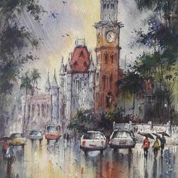 cityscape-3, 8 x 11 inch, shubhashis mandal,8x11inch,handmade paper,paintings,cityscape paintings,paintings for dining room,paintings for living room,paintings for bedroom,paintings for office,paintings for hotel,watercolor,paper,GAL02057433114