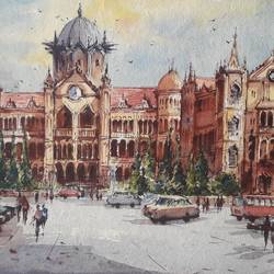 vt station -1, 11 x 8 inch, shubhashis mandal,11x8inch,handmade paper,paintings,cityscape paintings,paintings for dining room,paintings for living room,paintings for bedroom,paintings for office,paintings for hotel,watercolor,paper,GAL02057433116