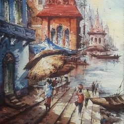 benaras ghat-7, 8 x 11 inch, shubhashis mandal,8x11inch,handmade paper,paintings,landscape paintings,paintings for dining room,paintings for living room,paintings for bedroom,paintings for office,paintings for hotel,watercolor,paper,GAL02057433117