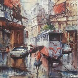 tram in kolkata-3, 8 x 11 inch, shubhashis mandal,8x11inch,handmade paper,paintings,cityscape paintings,paintings for dining room,paintings for living room,paintings for bedroom,paintings for office,paintings for hotel,watercolor,paper,GAL02057433118