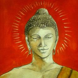 lord buddha, 7 x 11 inch, girish chandra vidyaratna,buddha paintings,paintings for bedroom,paintings,paper,mixed media,7x11inch,GAL0363312