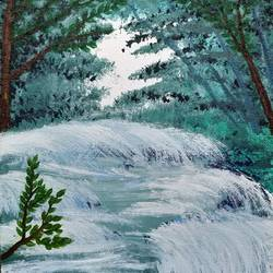 gushing stream, 8 x 10 inch, gitika singh,8x10inch,canvas,paintings,landscape paintings,nature paintings | scenery paintings,paintings for dining room,paintings for living room,paintings for bedroom,paintings for office,paintings for bathroom,paintings for kids room,paintings for hotel,paintings for kitchen,paintings for school,paintings for hospital,acrylic color,GAL01865433120