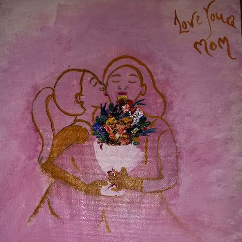 mother & daughter love, 8 x 10 inch, diksha wani,8x10inch,canvas,paintings,expressionism paintings,impressionist paintings,love paintings,paintings for dining room,paintings for living room,paintings for bedroom,ink color,oil color,pen color,GAL02123133122