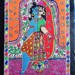 ardhanarishwar shiv parvati, 15 x 11 inch, nimisha kumari,15x11inch,handmade paper,paintings,folk art paintings,religious paintings,madhubani paintings | madhubani art,lord shiva paintings,paintings for living room,paintings for bedroom,paintings for office,paintings for hotel,acrylic color,mixed media,graphite pencil,paper,GAL02122733127