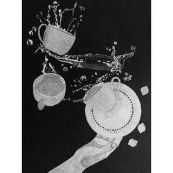 spill , 11 x 14 inch, maitri jani,11x14inch,thick paper,drawings,modern drawings,paintings for dining room,paintings for kitchen,pen color,paper,GAL02108433129