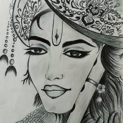 lord krishna, 11 x 15 inch, siuli mandal,11x15inch,drawing paper,drawings,figurative drawings,portrait drawings,paintings for school,graphite pencil,GAL02130433133