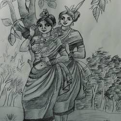 girls, 11 x 15 inch, siuli mandal,11x15inch,drawing paper,drawings,folk drawings,paintings for dining room,paintings for living room,paintings for bedroom,paintings for office,paintings for hotel,graphite pencil,GAL02130433137