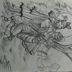 radha krishna, 11 x 15 inch, siuli mandal,11x15inch,drawing paper,drawings,expressionism drawings,folk drawings,radha krishna drawings,graphite pencil,GAL02130433138