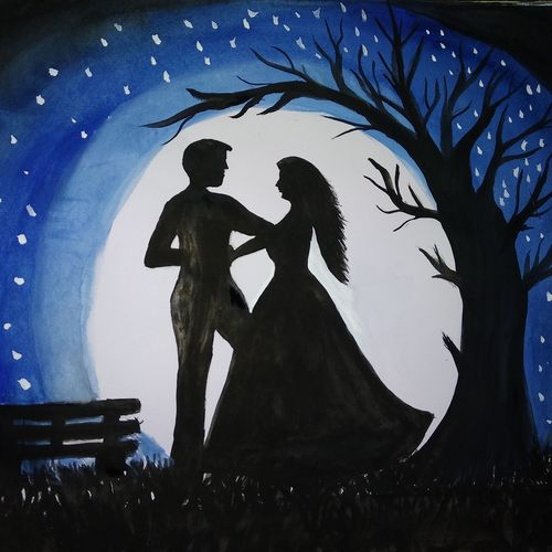 romantic, 11 x 15 inch, siuli mandal,11x15inch,drawing paper,paintings,landscape paintings,impressionist paintings,love paintings,paintings for dining room,paintings for living room,paintings for bedroom,paintings for office,paintings for hotel,acrylic color,fabric,watercolor,GAL02130433139