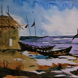 sea side, 11 x 15 inch, siuli mandal,11x15inch,drawing paper,paintings,landscape paintings,paintings for dining room,paintings for living room,paintings for bedroom,paintings for office,paintings for bathroom,paintings for hotel,acrylic color,fabric,watercolor,GAL02130433140