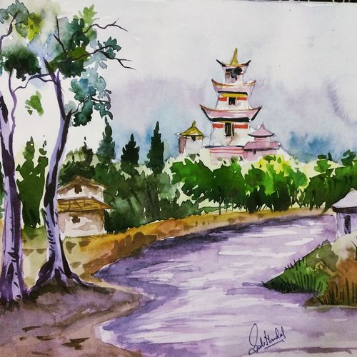 riverside, 11 x 15 inch, siuli mandal,11x15inch,drawing paper,paintings,landscape paintings,nature paintings   scenery paintings,paintings for dining room,paintings for living room,paintings for bedroom,paintings for office,paintings for hotel,acrylic color,fabric,watercolor,GAL02130433141