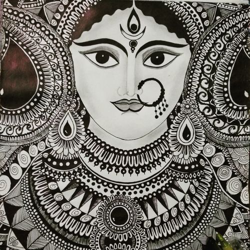 maa durga, 11 x 14 inch, siuli mandal,11x14inch,drawing paper,paintings for dining room,paintings for living room,paintings for bedroom,paintings for office,paintings for hotel,paintings for hospital,paintings for dining room,paintings for living room,paintings for bedroom,paintings for office,paintings for hotel,paintings for hospital,pen color,ball point pen,GAL02130433143