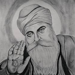 guru nanak, 14 x 17 inch, siuli mandal,14x17inch,drawing paper,drawings,figurative drawings,folk drawings,portrait drawings,paintings for living room,paintings for bedroom,paintings for office,paintings for hotel,paintings for hospital,pencil color,graphite pencil,GAL02130433149