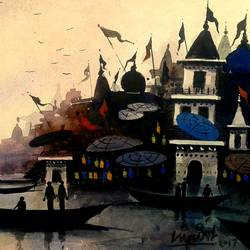 varanasi ghat - 22, 10 x 7 inch, girish chandra vidyaratna,landscape paintings,paintings for living room,paintings,paper,watercolor,10x7inch,GAL0363315