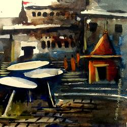 varanasi ghat - 23, 6 x 7 inch, girish chandra vidyaratna,landscape paintings,paintings for living room,paper,watercolor,6x7inch,GAL0363316