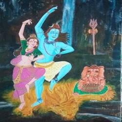 taandav, 12 x 14 inch, deepti agrawal,12x14inch,canvas board,paintings,religious paintings,lord shiva paintings,paintings for dining room,paintings for living room,paintings for bedroom,paintings for hotel,acrylic color,GAL0596833160