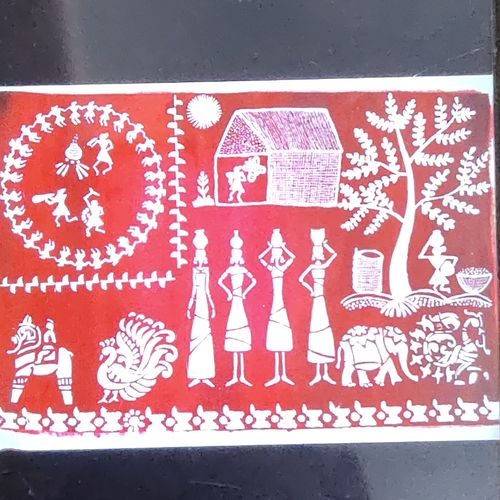 wali art, 16 x 13 inch, haritha gopisetty,16x13inch,cloth,paintings,warli paintings,paintings for living room,paintings for kids room,acrylic color,GAL02133433165