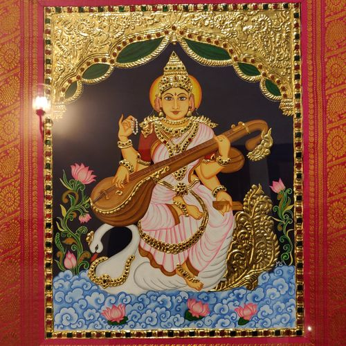 unique goddess saraswati 24 kt gold tanjore painting, 14 x 18 inch, mrinalini shingal,14x18inch,wood board,paintings,folk art paintings,foil paintings,religious paintings,tanjore paintings,ganesha paintings | lord ganesh paintings,radha krishna paintings,lord shiva paintings,paintings for dining room,paintings for living room,paintings for bedroom,paintings for office,paintings for kids room,paintings for hotel,paintings for kitchen,paintings for school,paintings for hospital,acrylic color,wood,metal,GAL01898333166