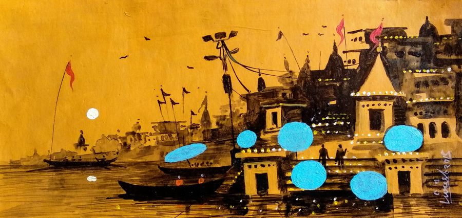 varanasi ghat - 24, 8 x 6 inch, girish chandra vidyaratna,paintings for bedroom,paintings,landscape paintings,paintings for dining room,paintings for living room,paintings for office,paintings for kids room,paintings for hotel,paintings for kitchen,paper,acrylic color,8x6inch,GAL0363317