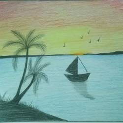 scenery , 12 x 17 inch, sadaf anees antulay,12x17inch,thick paper,nature paintings | scenery paintings,pencil color,GAL0527533179