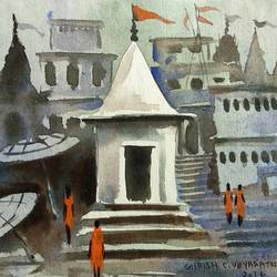 varanasi ghat - 25, 7 x 5 inch, girish chandra vidyaratna,paintings for bedroom,landscape paintings,paintings for dining room,paintings for living room,paintings for office,paintings for kids room,paintings for hotel,paintings for kitchen,paper,acrylic color,7x5inch,GAL0363318