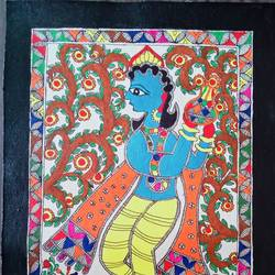 'matki-wale' krishna in jovial mood, 15 x 11 inch, nimisha kumari,15x11inch,handmade paper,paintings,folk art paintings,religious paintings,madhubani paintings | madhubani art,paintings for living room,paintings for bedroom,paintings for office,paintings for hotel,paintings for school,acrylic color,mixed media,paper,GAL02122733187