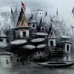 varanasi ghat - 26, 8 x 11 inch, girish chandra vidyaratna,abstract paintings,paintings for bedroom,paper,mixed media,8x11inch,GAL0363319