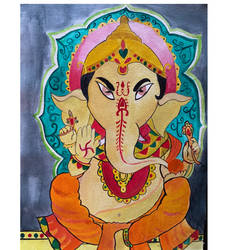 lord ganesha , 12 x 16 inch, sarumathi s,12x16inch,canvas,paintings,ganesha paintings | lord ganesh paintings,acrylic color,GAL02115333190