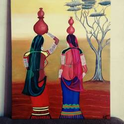 rural rajasthan handmade painting , 20 x 18 inch, anjana powell,20x18inch,canvas,folk art paintings,acrylic color,GAL02138833196