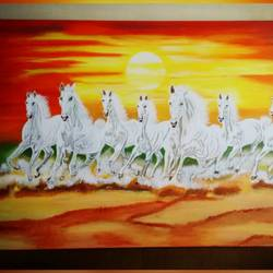 seven horse painting, 36 x 24 inch, anjana powell,36x24inch,canvas,paintings,horse paintings,acrylic color,GAL02138833198