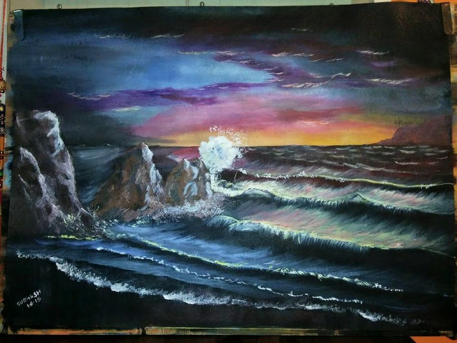 the wave, 30 x 24 inch, subhash gijare,nature paintings,paintings for living room,fabriano sheet,acrylic color,30x24inch,GAL0138332Nature,environment,Beauty,scenery,greenery